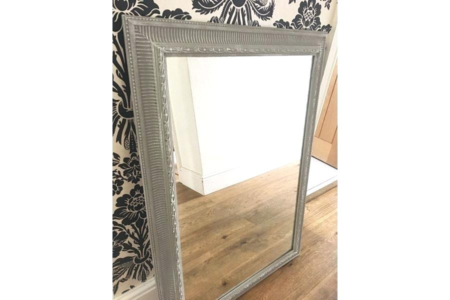 large antique mirror vintage mirror painted in french linen photo 1