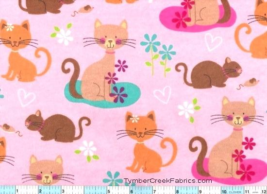 cat fleece fabric buy now a kitties cats on pink flannel