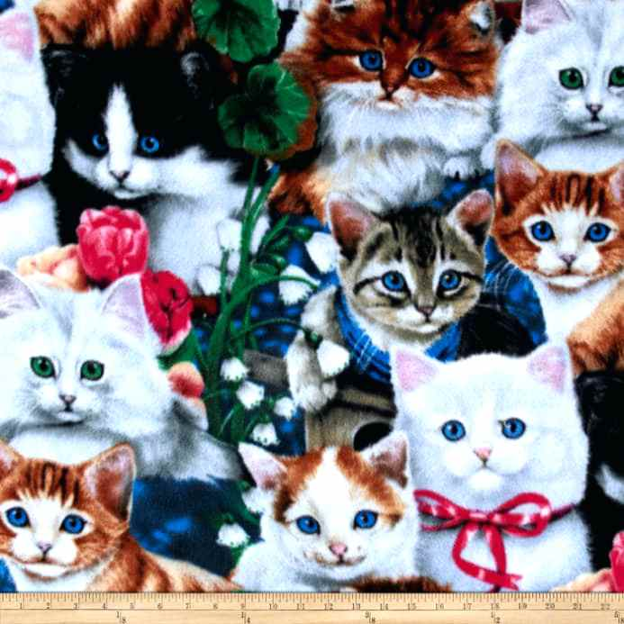 cat fleece fabric zoom valentines kittens multi fleece