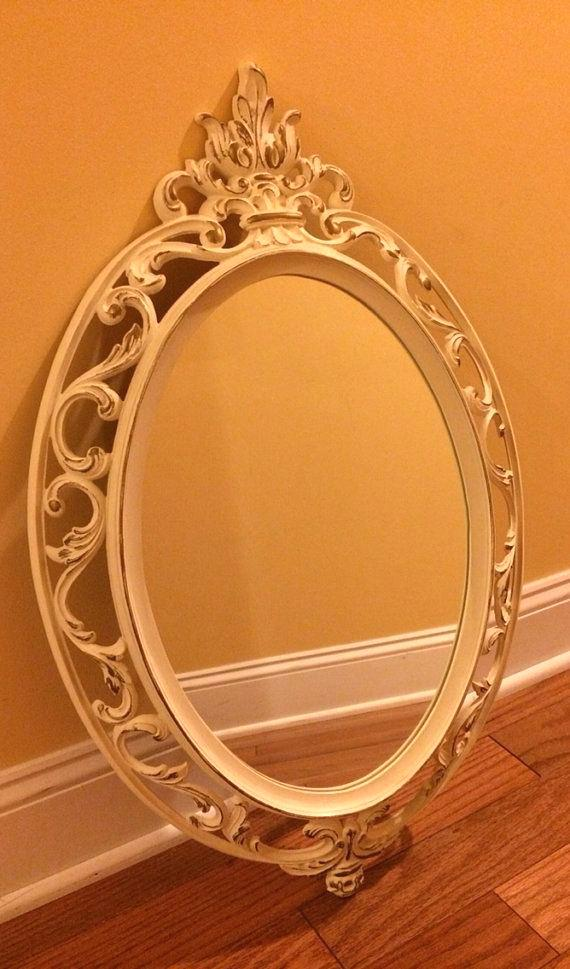 oval mirror white frame vintage ornate mirror white gold resin