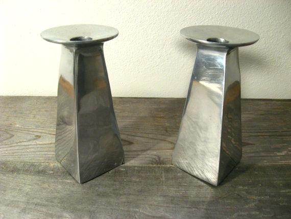mid century modern candle holders silver metal modern candle holders by