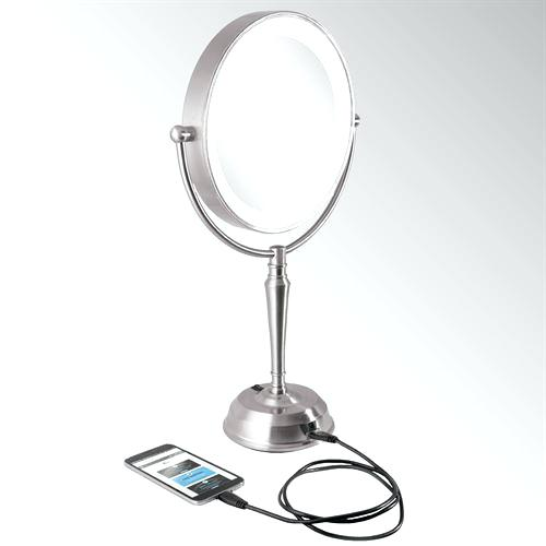 cordless vanity mirror magnifying led vanity mirror with port satin nickel