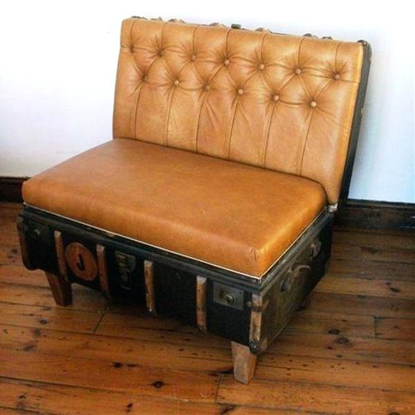 vintage suitcase table view in gallery