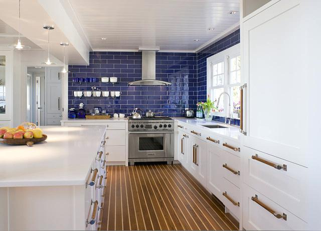 blue white kitchen beach style kitchen by and associates