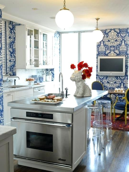 blue white kitchen enlarge